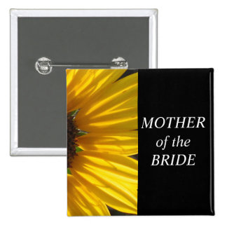 Mother Of The Bride Sunflower Wedding Button