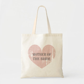 Mother of the bride tote bag with coral pink heart