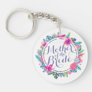 Mother of the Bride Tropical Wedding Keychain