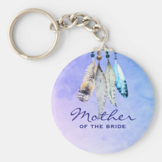 Mother of the Bride Watercolor Featherss Basic Round Button Keychain
