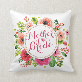 Mother of the Bride Watercolor Wedding Pillow
