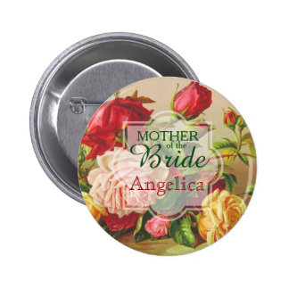 Mother of the Bride Wedding Vintage Victorian Rose 2 Inch Round Button