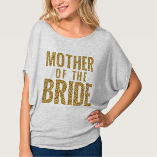 Mother of the Bridge Simulated Gold Glitter Block T-Shirt
