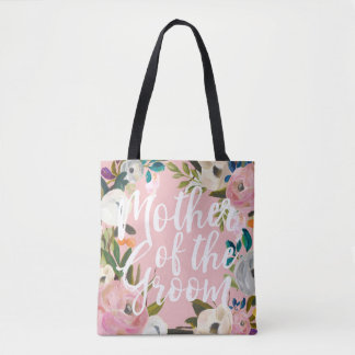 Mother of the Groom Brushed Floral Wedding Pink Tote Bag