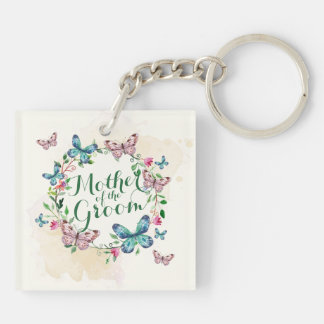 Mother of the Groom Butterfly Wreath Keychain