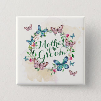 Mother of the Groom Butterfly Wreath Pin Button