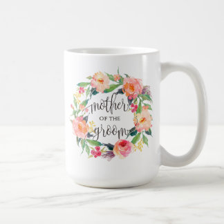 Mother of the Groom, Calligraphy, Floral Wreath Coffee Mug