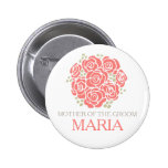 Mother of the groom coral posy wedding pin button