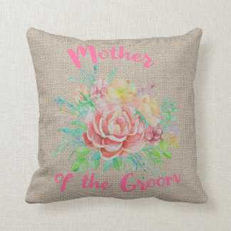Mother of the Groom Floral Watercolor Burlap Throw Pillow