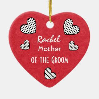 MOTHER OF THE GROOM Polka Dot Hearts V09F Ceramic Heart Ornament