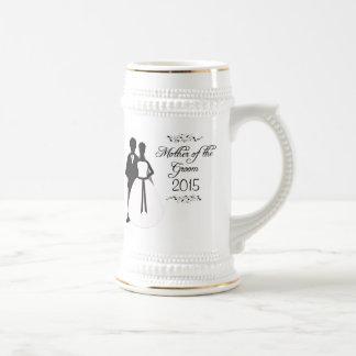 Mother of the groom swirls wedding favor stein 18 oz beer stein