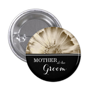 Mother of The Groom Wedding Gold Daisy 1 Inch Round Button