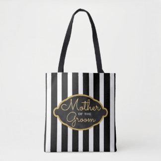 Mother of the Groom Wedding Modern Black Stripes Tote Bag