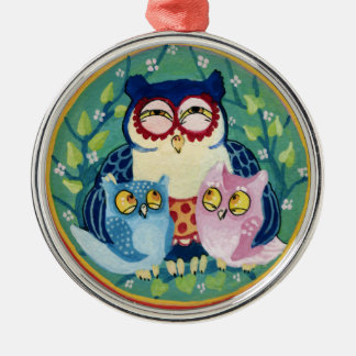 Mother owl Silver-Colored round ornament