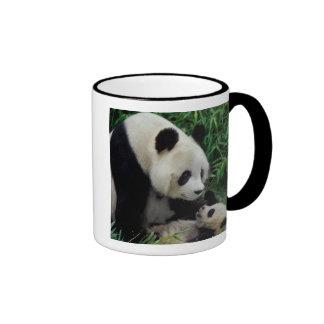 Mother panda and baby in the bamboo bush, Wolong Ringer Coffee Mug