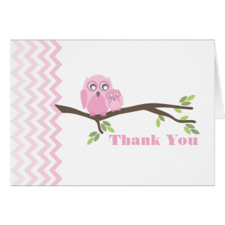 Mother & Pink Baby Owl Thank You Chevron Stationery Note Card