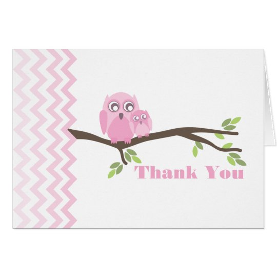 Mother & Pink Baby Owl Thank You Chevron Card