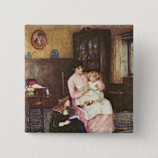 Mother playing with children in an interior 2 inch square button