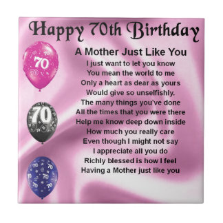 Mother Poem - 70th Birthday Tile