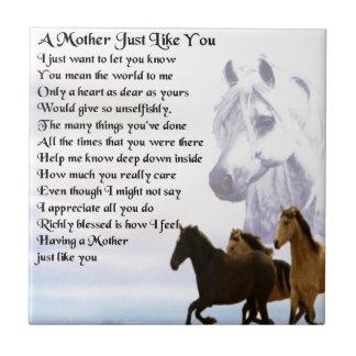 Mother Poem -  Horses Design Tile
