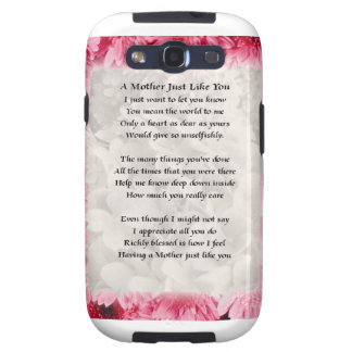 Mother poem - Pink Floral Border Galaxy SIII Cover