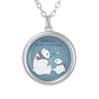 Mother Polar Bear and Baby Christmas Silver Plated Necklace