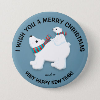Mother Polar Bear and Cub on Blue Merry Christmas 3 Inch Round Button