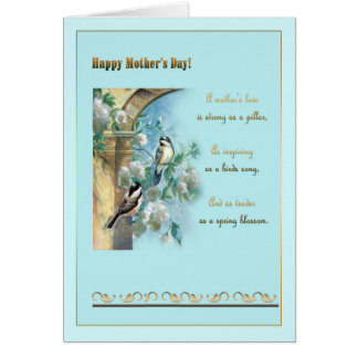 """Mother""""s day, antique pillar, roses and chickadees card"""