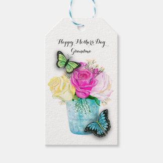 Mother's Day Spring Roses in Vase with Butterflies Pack Of Gift Tags