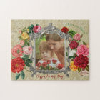 Mother's Day Sweet Roses Fancy Baroque Photo Frame Jigsaw Puzzle