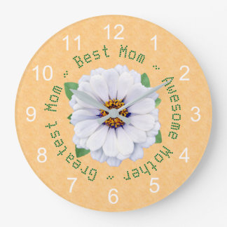 Mother's Day White Zinnia Garden Large Clock