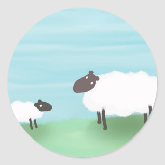 Mother Sheep & Lamb Classic Round Sticker