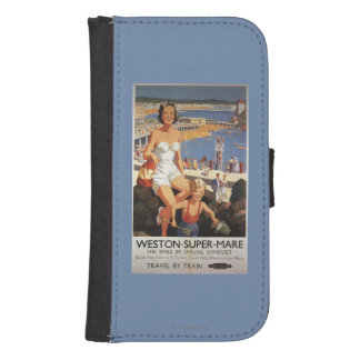 Mother & Son on Beach Railway Poster Phone Wallet Case