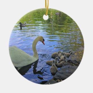 Mother Swan with Babies at the Pond Round Ceramic Ornament