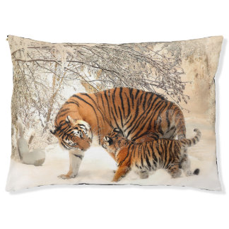 Mother Tiger and Cub in Snow Pet Bed