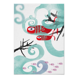 Mother whale new baby coral waves swirls canvas poster