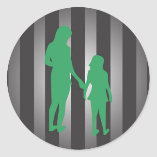 Mother With Daughter Round Sticker