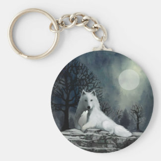 Mother Wolf and Pup Snuggle Keychain