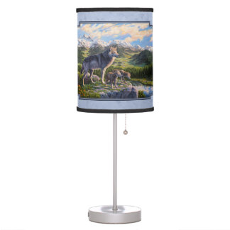 Mother Wolf and Pups Sky Blue Table Lamp