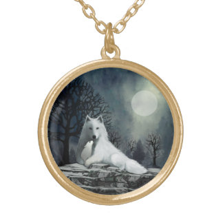 Mother Wolf with Puppy Round Pendant Necklace