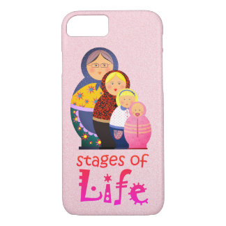 Mother Woman Ageing Life Funny Matryoshka Pink iPhone 8/7 Case