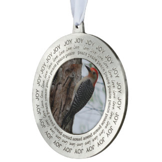 Mother Woodpecker, Round Ornament Round Pewter Ornament