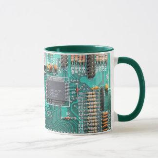 Motherboard, circuit board photo, computer nerd mug