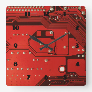 MOTHERBOARD RED Square Clock