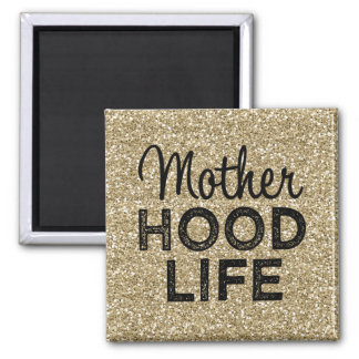 Motherhood Life gold glitter magnet
