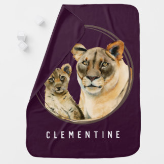 Motherhood   Lioness and Cub   Add Your Name Baby Blanket