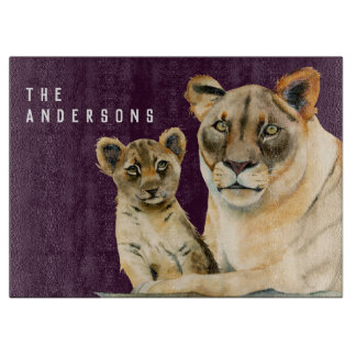 Motherhood   Lioness and Cub   Add Your Name Cutting Board