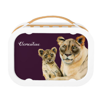 Motherhood | Lioness and Cub | Add Your Name Lunch Box