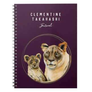 Motherhood | Lioness and Cub | Add Your Name Notebook