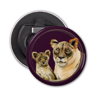 Motherhood   Lioness and Cub Watercolor Painting Bottle Opener